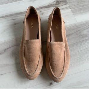 Aldo camel coloured suede loafers